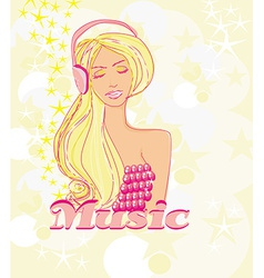 disco girl with headphones on her head - poster vector image vector image