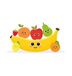funny fruits and banana vector image