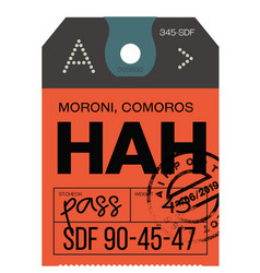 Moroni airport luggage tag vector