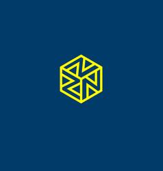 n monogram in a hexagon vector image