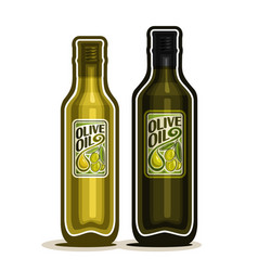 2 green bottles with olive oil vector image