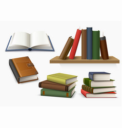 3d hardcover book stack symbol knowledge vector image