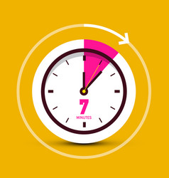7 seven minutes clock icon vector image