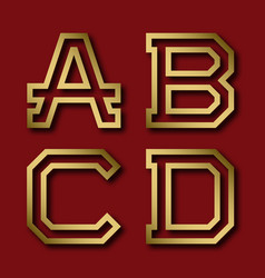A b c d gold angular letters with shadow vector