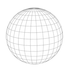 Abstract wireframe sphere globe on white isolated vector