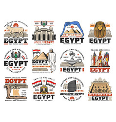 Ancient egypt pyramid god map and flag icons vector