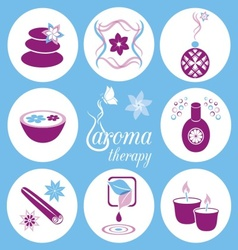 Aromatherapy icons vector image