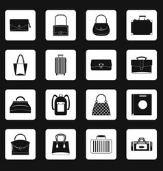 Bag baggage suitcase icons set squares vector
