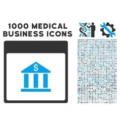 Bank Building Calendar Page Icon With 1000 Medical vector