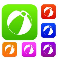 beach ball set color collection vector image