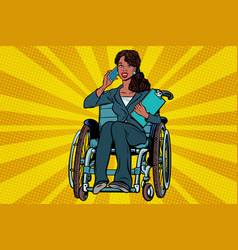 Beautiful african woman disabled businesswoman vector