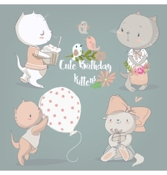Birthday set with cute kittens vector