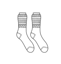 Black engraved warm socks hand drawn ink drawing vector