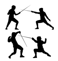 black silhouette of fencing on a white background vector image