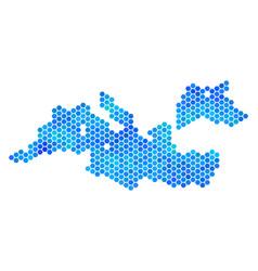 Blue hexagon mediterranean sea map vector