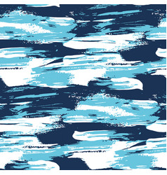 Blue water brush stroke modern seamless pattern vector