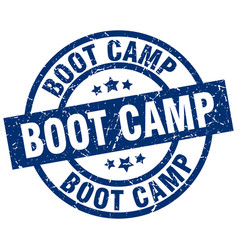 Boot camp blue round grunge stamp vector