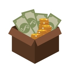 Box with coins and bills icon vector