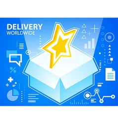 bright delivery box and star on blue backgro vector image