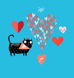 bright love cat vector image