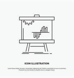 business chart data graph stats icon line gray vector image