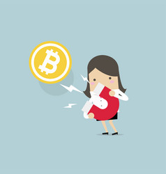 businesswoman attracting bitcoin with magnet vector image