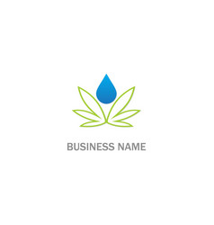 cannabis oil droplet leaf logo vector image