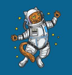 Cartoon cat astronaut sketch engraving vector