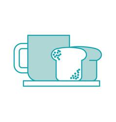 coffee cup bread dish breakfast food fresh hot vector image
