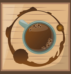 Coffee cup over wooden desgin vector