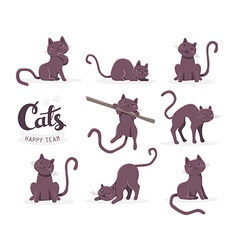 Collection of of cute dark cat in various po vector