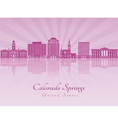 Colorado Springs V2 skyline in purple radiant vector