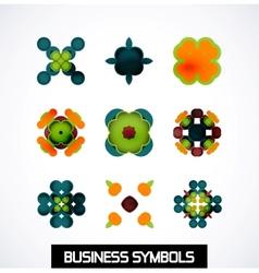 Colorful geometric business symbols icon set vector
