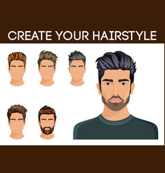 Create change hairstyle choices for men vector