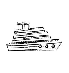 Cruise boat in the sea side view vacation travel vector