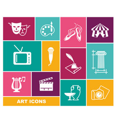 Culture and art icons in flat style vector