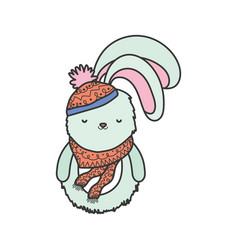 cute rabbit with scarf and hat merry christmas vector image