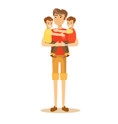 Dad holding twin kids on his hands vector