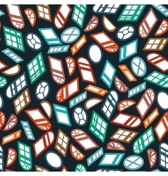 dark seamless pattern color isometric window vector image