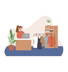 Fashion clothing store concept vector