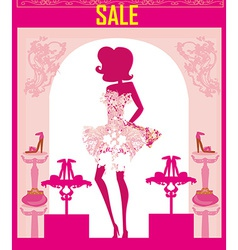 Fashion girl shopping in shoe shop abstract sale vector