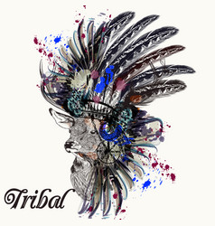fashion with indian head dress deer and ink spots vector image