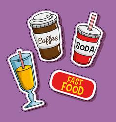 fast food stickers pop art vector image