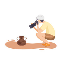 Female archaeologist researching and photographing vector