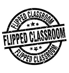 Flipped classroom round grunge black stamp vector