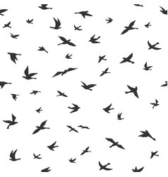 flying bird seamless pattern drawing birds flock vector image