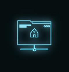 folder home site neon icon web development icon vector image