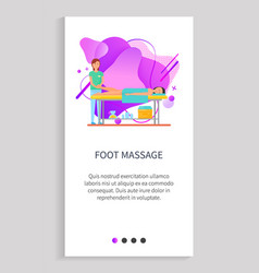 foot massage client in spa salon website site vector image