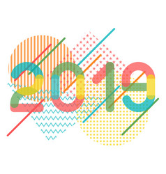 geometrical abstract for 2019 new year in rainbow vector image