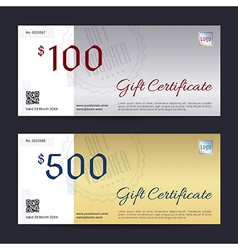 Gift Certificate Gift Voucher Gold Silver vector